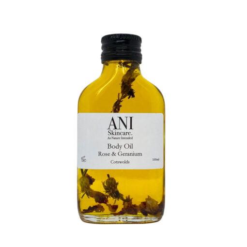 Body Oil Rose Geranium Bottle